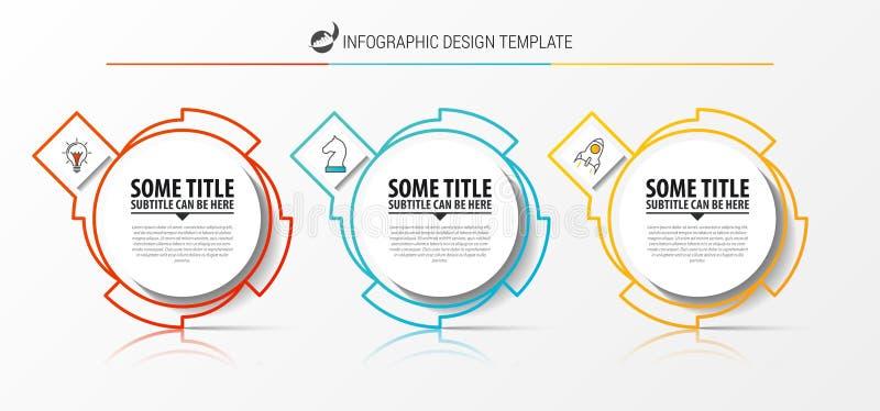 Infographic设计模板 与3步的创造性的概念 皇族释放例证