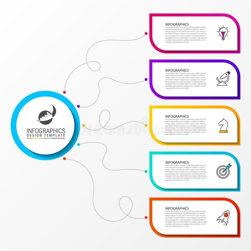 Infographic设计模板 与5步的创造性的概念 皇族释放例证