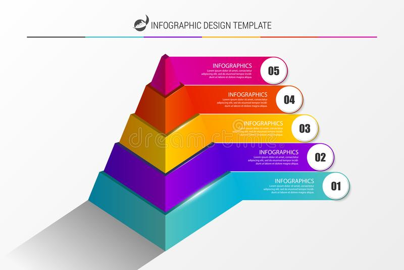 Infographic设计模板 与5步的金字塔 向量 向量例证