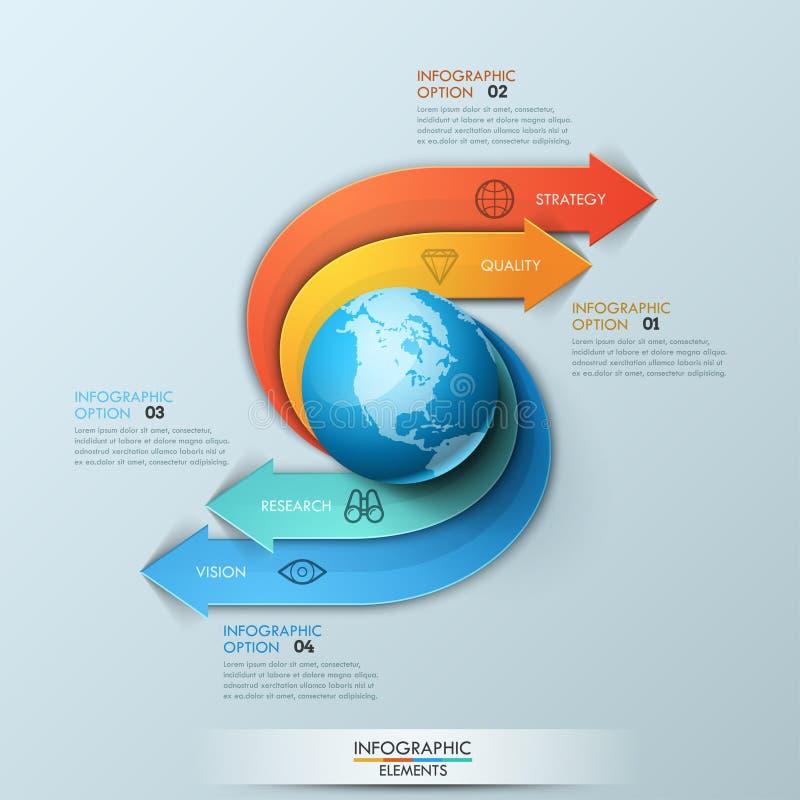 Infographic设计模板 箭头起源于主要元素于行星形状,四处走动并且指向编号 皇族释放例证