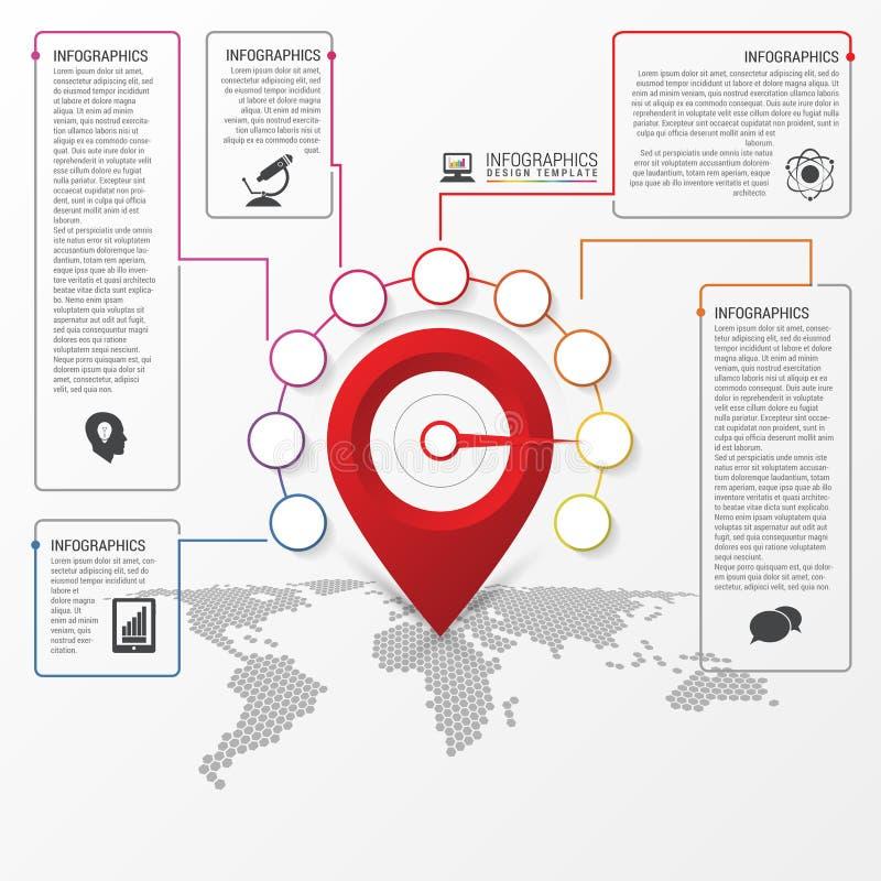 Infographic设计 报告与地点尖的模板 向量 皇族释放例证