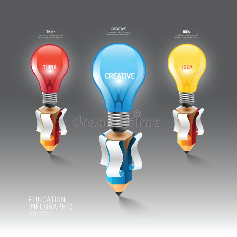 Infographic铅笔有电灯泡想法 也corel凹道例证向量 edu 皇族释放例证
