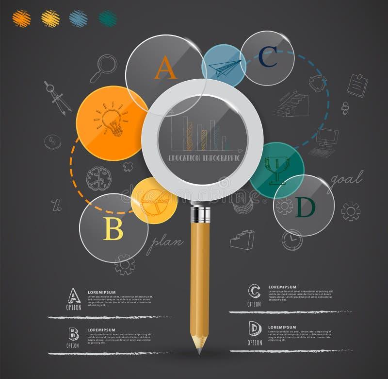从infographic铅笔的教育的创造性的放大镜想法 库存例证