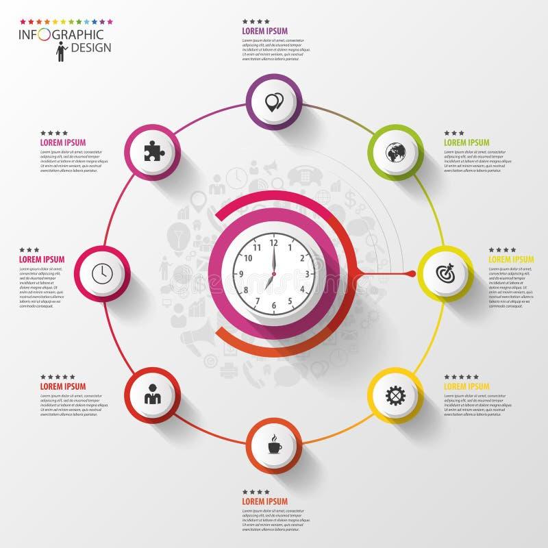 Infographic äganderätt för home tangent för affärsidé som guld- ner skyen till Färgrik cirkel med symboler vektor stock illustrationer