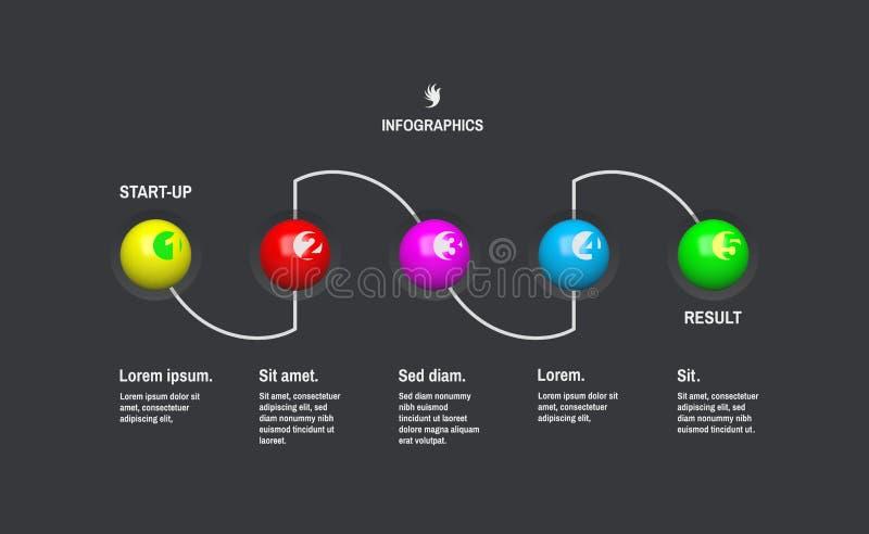 Infographic πρότυπο ξεκινήματος με 5 βήματα χρυσή ιδιοκτησία βασικών πλήκτρων επιχειρησιακής έννοιας που φθάνει στον ουρανό Διανυ διανυσματική απεικόνιση