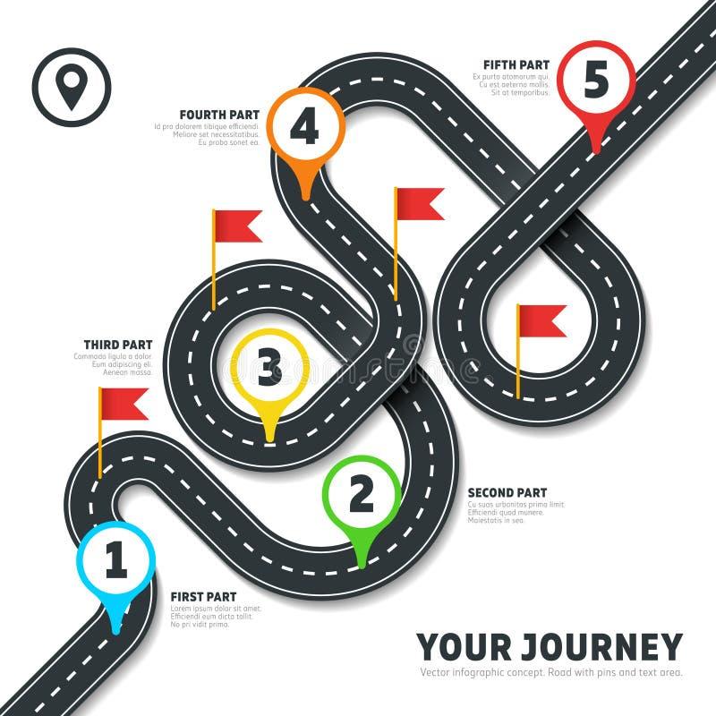 Infographic översikt för väg för vektor för slingrig väg för navigering royaltyfri illustrationer