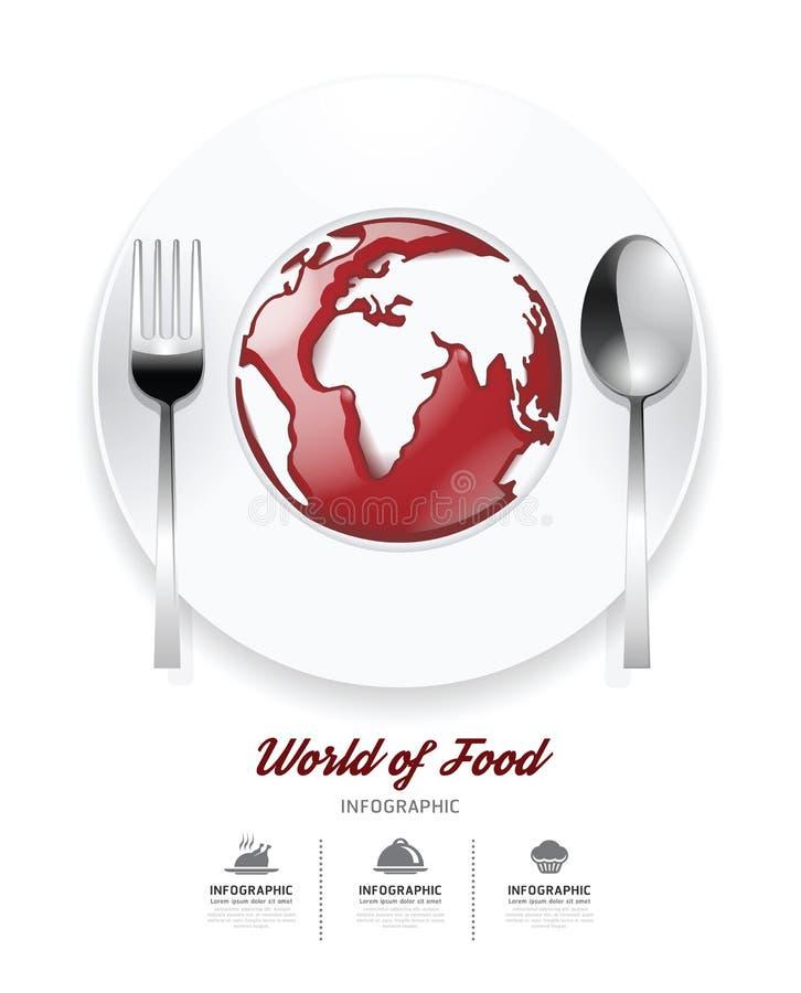 Infographic świat karmowy projekta szablon. pomidorowy kumberland na świacie ilustracji
