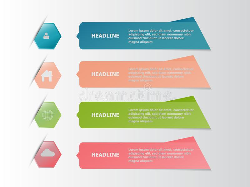Infographic έμβλημα τέσσερα ζωηρόχρωμο, επιχειρησιακή έννοια απεικόνιση αποθεμάτων
