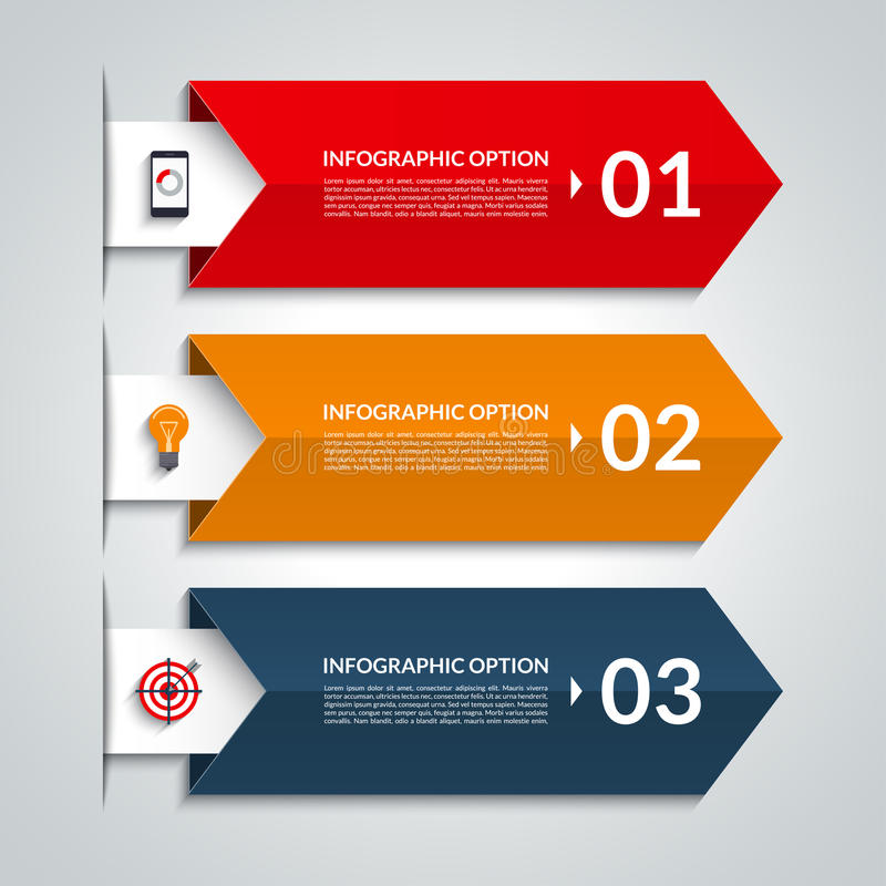 Infographic έμβλημα επιλογών βελών Διανυσματικό πρότυπο με 3 βήματα ελεύθερη απεικόνιση δικαιώματος