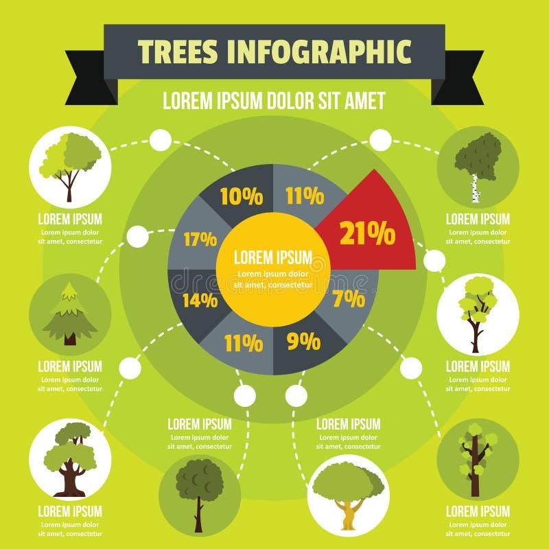 Infographic έννοια δέντρων, επίπεδο ύφος απεικόνιση αποθεμάτων
