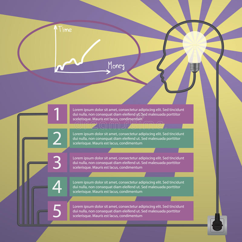 infographic έννοια Ανθρώπινο κεφάλι με την ιδέα - λάμπα φωτός ελεύθερη απεικόνιση δικαιώματος