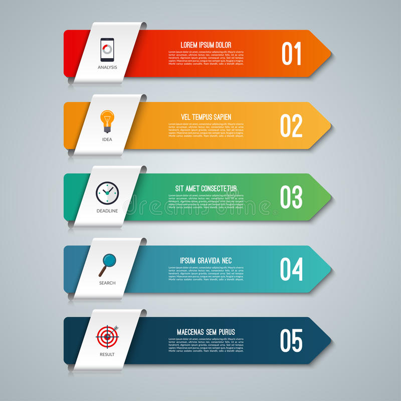 Infographic έννοια βελών με 5 επιλογές διανυσματική απεικόνιση