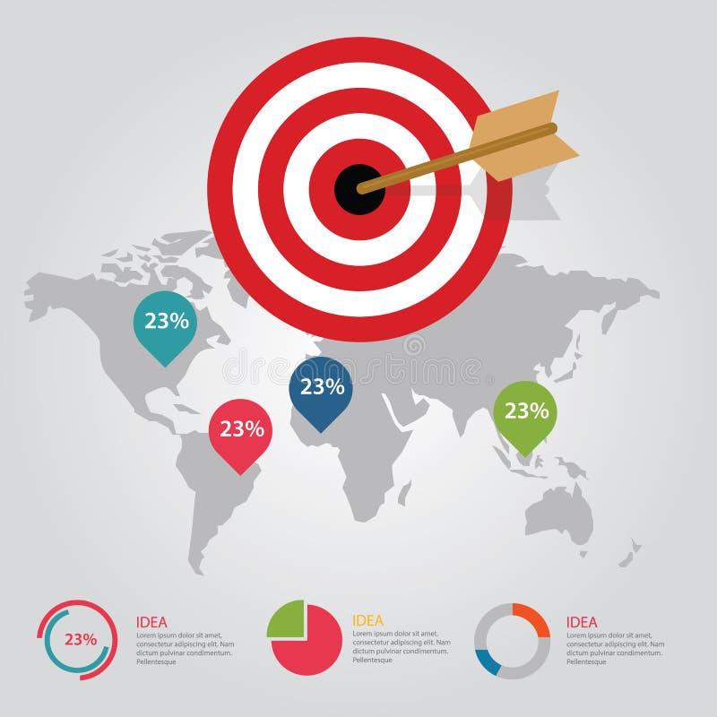 Infographic έννοια βελών πινάκων βελών επιχειρησιακών στόχων του παγκόσμιου χάρτη επιτεύγματος στόχων διανυσματική απεικόνιση