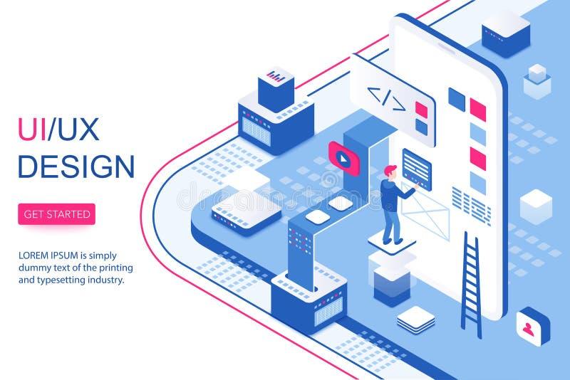 Infographic έννοια σχεδίου UI UX Κινητό app λογισμικό και οπτικό ικανοποιημένο τρισδιάστατο isometric προσγειωμένος πρότυπο σελίδ διανυσματική απεικόνιση