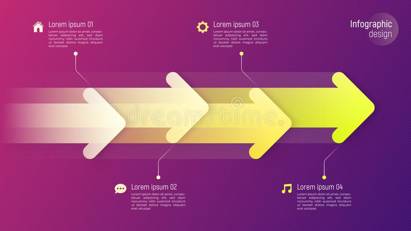 Infographic έννοια υπόδειξης ως προς το χρόνο ύφους εγγράφου με τα δυναμικά βέλη επάνω διανυσματική απεικόνιση