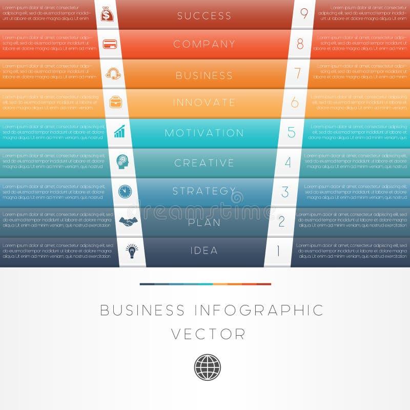 Infographic αριθμημένη θέση εννέα λουρίδων χρώματος απεικόνιση αποθεμάτων