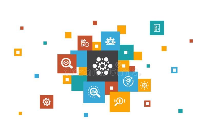 Infographic 10 βήματα επιχειρηματικής διαδικασίας διανυσματική απεικόνιση