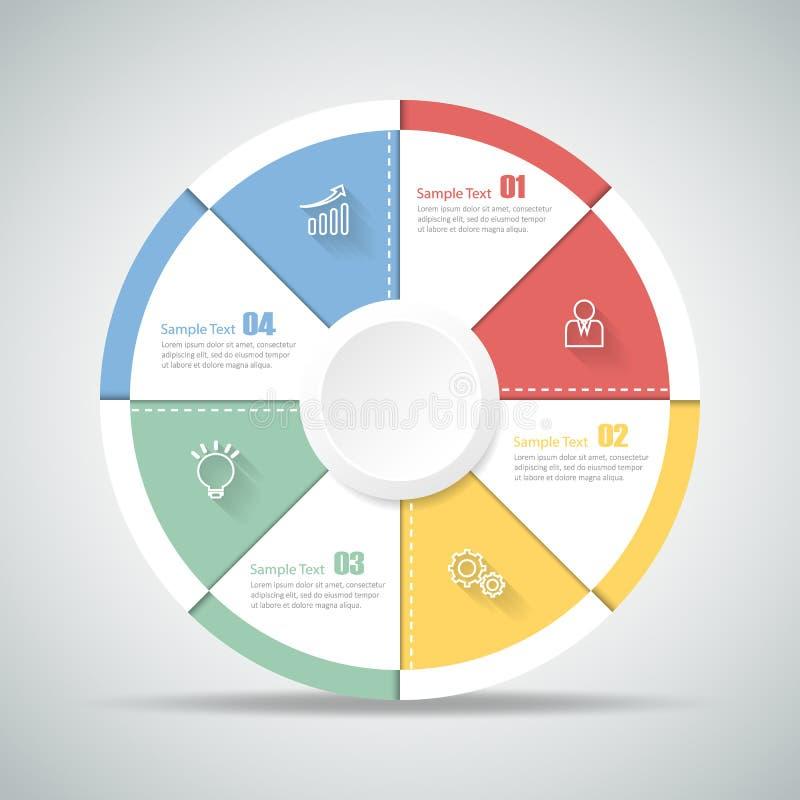 Infographic 4 βήματα κύκλων σχεδίου μπορέστε να χρησιμοποιηθείτε για το σχεδιάγραμμα ροής της δουλειάς, διάγραμμα διανυσματική απεικόνιση