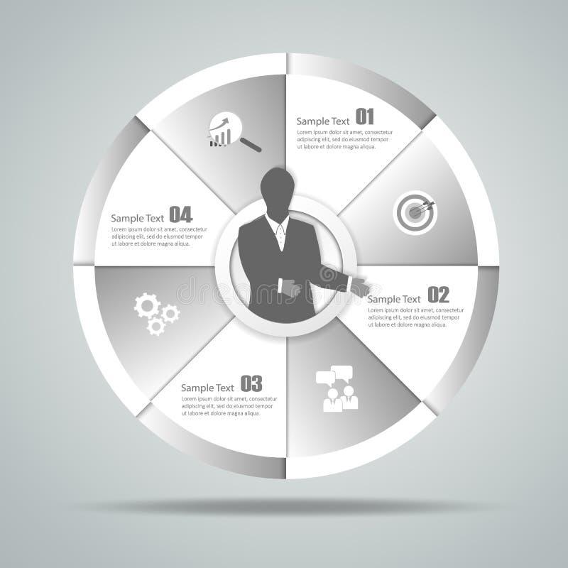 Infographic 4 βήματα κύκλων σχεδίου μπορέστε να χρησιμοποιηθείτε για το σχεδιάγραμμα ροής της δουλειάς, διάγραμμα απεικόνιση αποθεμάτων