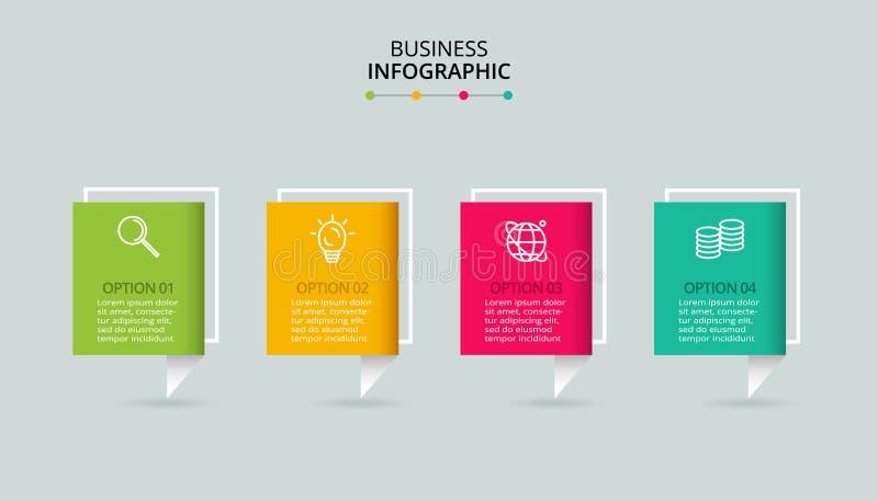 Διανυσματικό infographic πρότυπο με την τρισδιάστατη ετικέτα εγγράφου Επιχειρησιακή έννοια με 4 επιλογές Για το διάγραμμα, βήματα απεικόνιση αποθεμάτων