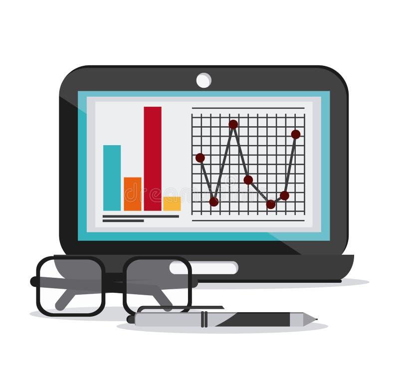 Infographic εικονίδιο μανδρών γυαλιών εγγράφων lap-top διανυσματική απεικόνιση
