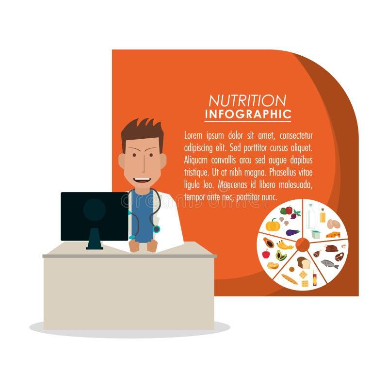 Infographic εικονίδιο τροφίμων διατροφής διανυσματική απεικόνιση