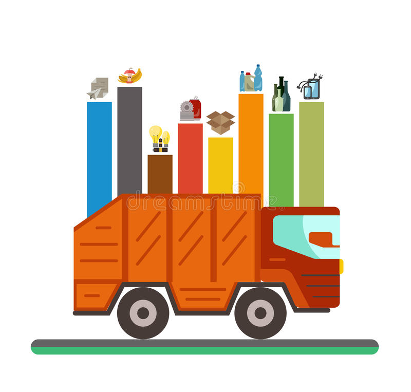 Infographic επίπεδη έννοια κατηγοριών ανακύκλωσης απορριμάτων απεικόνιση αποθεμάτων