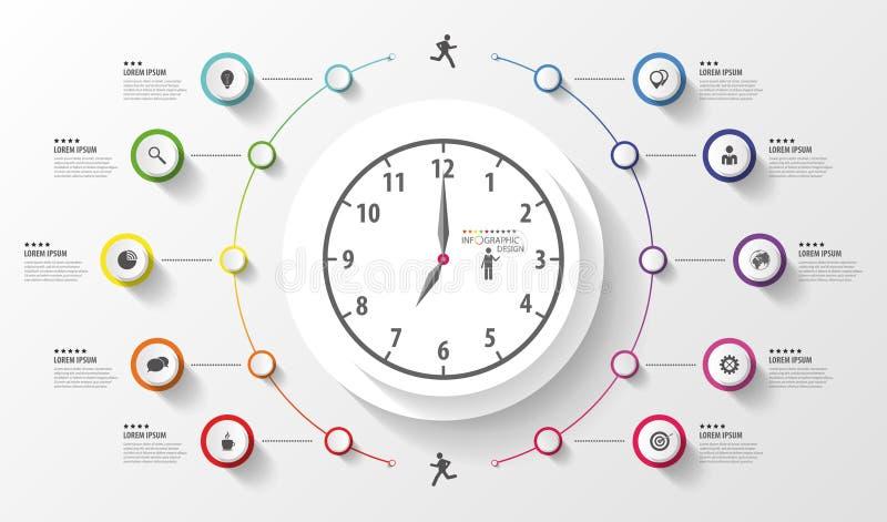 Infographic Επιχειρησιακό ρολόι Ζωηρόχρωμος κύκλος με τα εικονίδια διάνυσμα απεικόνιση αποθεμάτων