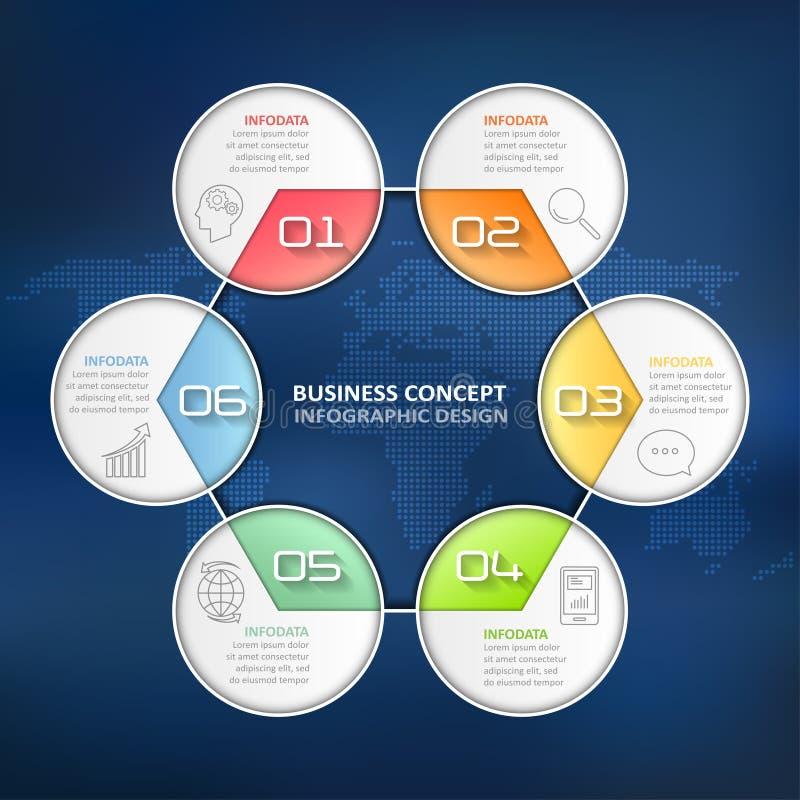 Infographic 6 επιλογές κύκλων σχεδίου, επιχειρησιακή έννοια infographic διανυσματική απεικόνιση