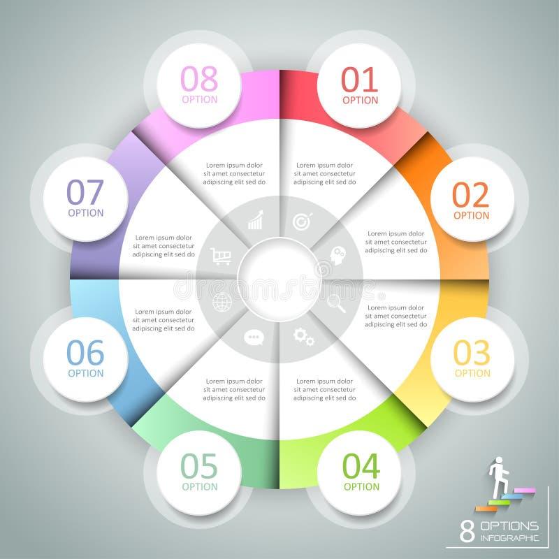 Infographic 8 επιλογές κύκλων σχεδίου, επιχειρησιακή έννοια infographic διανυσματική απεικόνιση