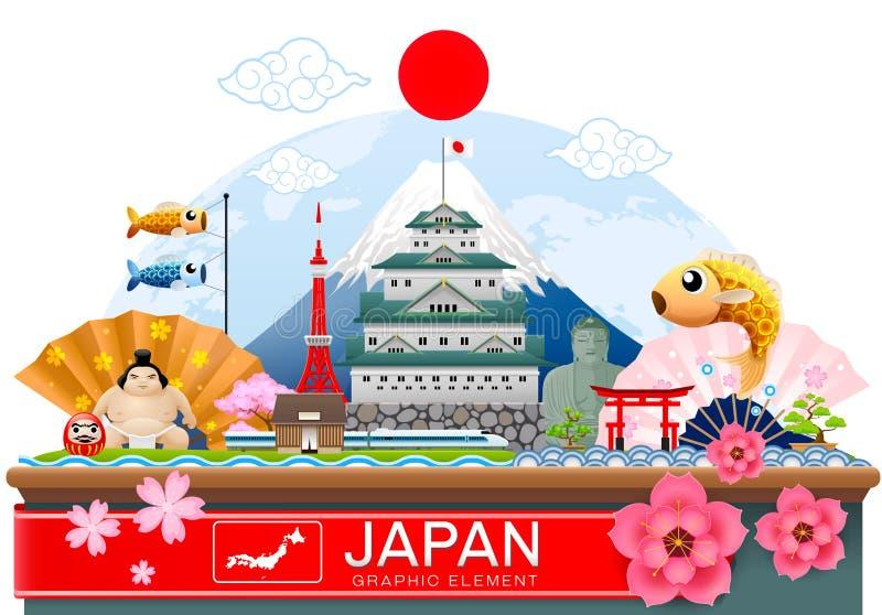 Infographic θέση ταξιδιού της Ιαπωνίας και διάνυσμα ορόσημων απεικόνιση αποθεμάτων
