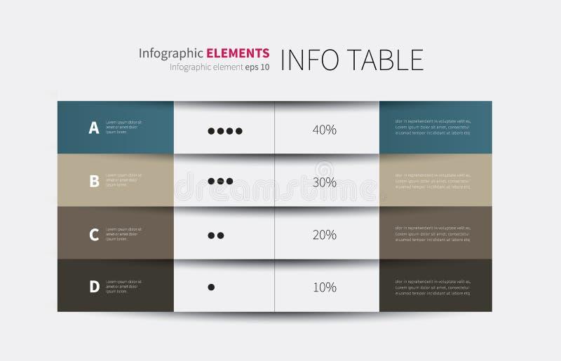infographic πίνακας 4 στηλών διανυσματική απεικόνιση