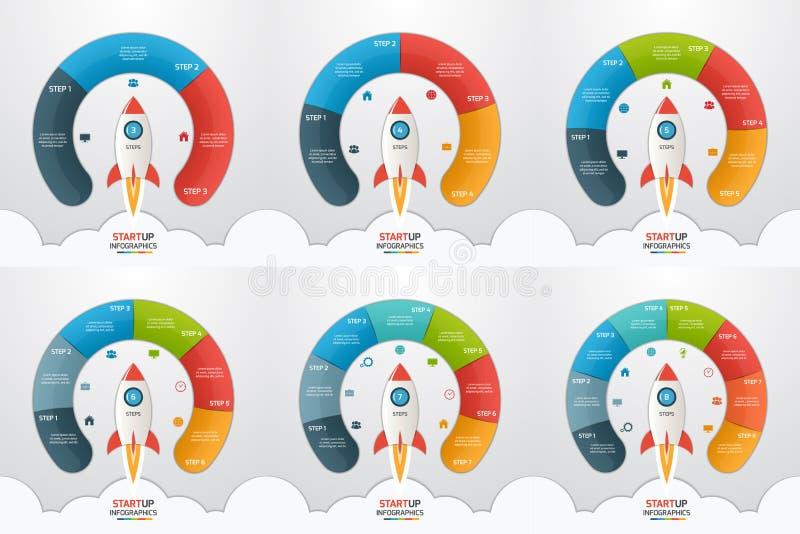 3-8 infographic πρότυπα κύκλων ξεκινήματος βημάτων που τίθενται με τον πύραυλο διανυσματική απεικόνιση