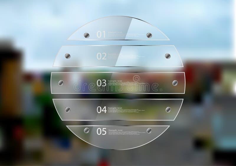 Infographic πρότυπο απεικόνισης με τον κύκλο που δημιουργείται από πέντε φύλλα γυαλιού ελεύθερη απεικόνιση δικαιώματος