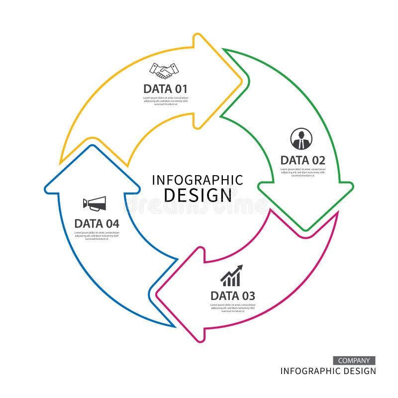 Infographic πρότυπο βελών κύκλων επιχειρησιακών λεπτό γραμμών με το dat 4 διανυσματική απεικόνιση
