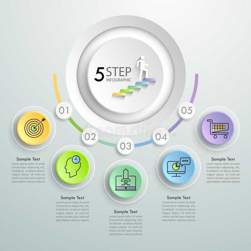 Infographic πρότυπο 5 επιχειρησιακής έννοιας βήματα απεικόνιση αποθεμάτων