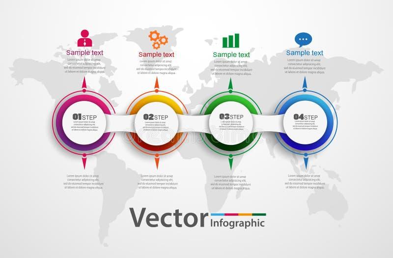 Infographic πρότυπο διαγραμμάτων υπόδειξης ως προς το χρόνο με 4 επιλογές για τις παρουσιάσεις, διαφήμιση, σχεδιαγράμματα, ετήσια ελεύθερη απεικόνιση δικαιώματος