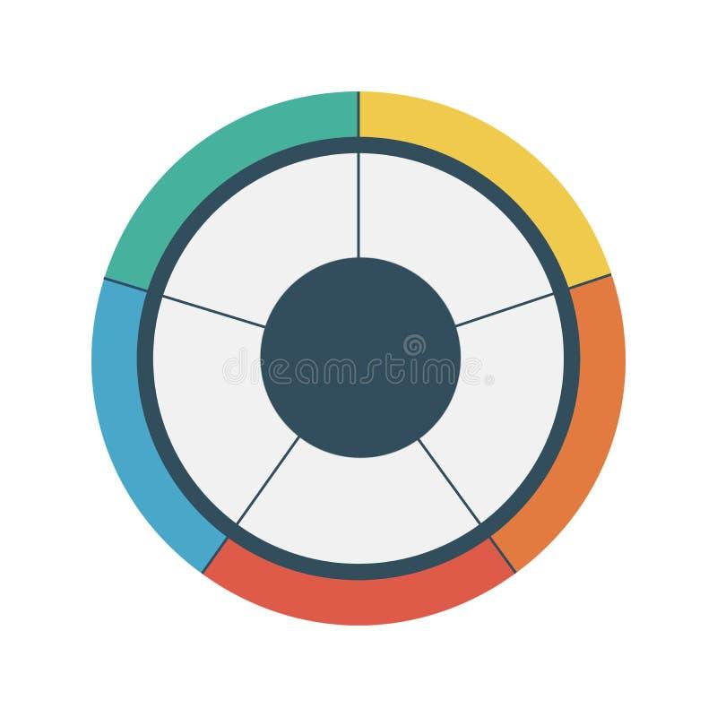 Infographic πρότυπο κύκλων διαγραμμάτων πιτών με 5 επιλογές χρυσή ιδιοκτησία βασικών πλήκτρων επιχειρησιακής έννοιας που φθάνει σ ελεύθερη απεικόνιση δικαιώματος