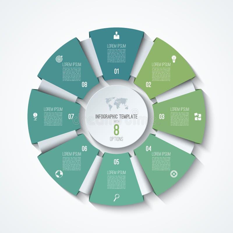 Infographic πρότυπο κύκλων Ρόδα διαδικασίας Διανυσματικό διάγραμμα πιτών ελεύθερη απεικόνιση δικαιώματος