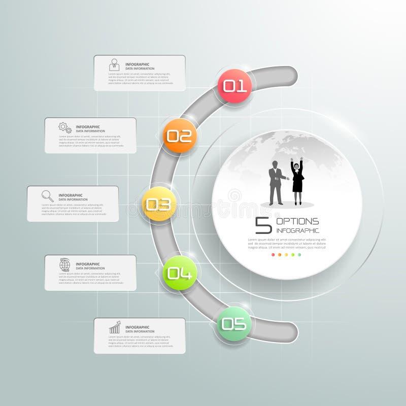 Infographic πρότυπο κύκλων σχεδίου, για την επιχειρησιακή έννοια 5 επιλογές διανυσματική απεικόνιση