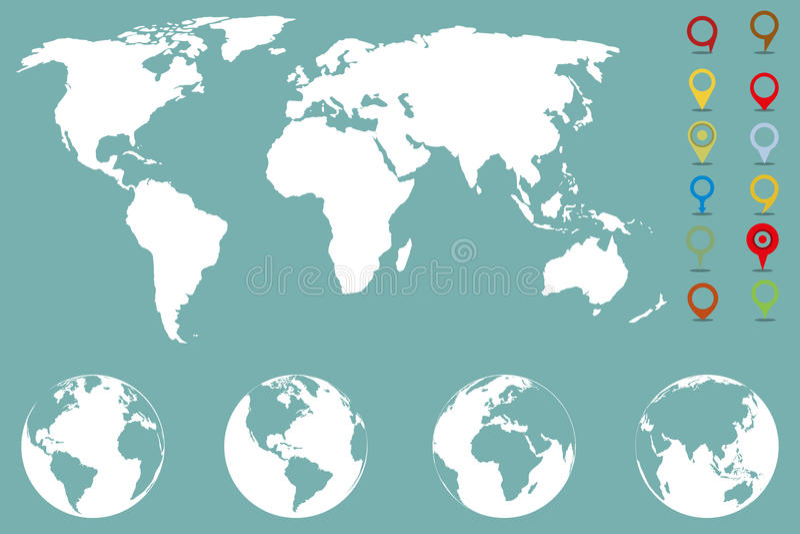 Infographic πρότυπο παγκόσμιων χαρτών με διαφορετικούς δείκτες και τέσσερα εικονίδια σφαιρών από τις διαφορετικές πλευρές απεικόνιση αποθεμάτων