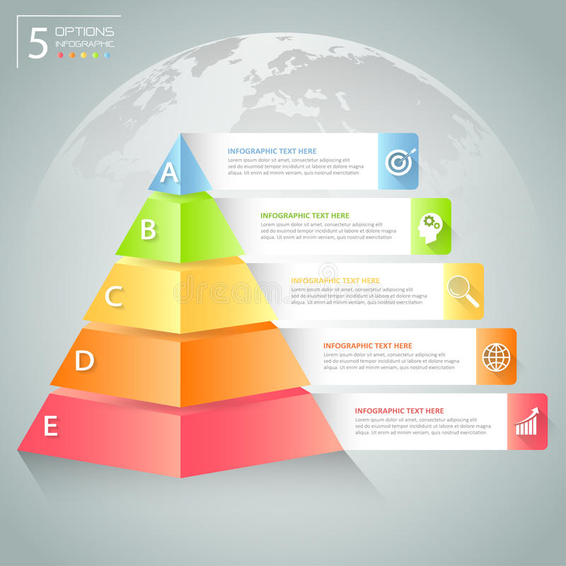 Infographic πρότυπο πυραμίδων σχεδίου Επιχειρησιακή έννοια infographic ελεύθερη απεικόνιση δικαιώματος