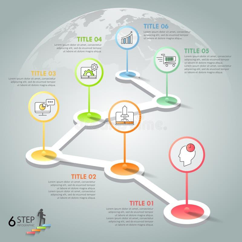 Infographic πρότυπο 6 σχεδίου επιλογές διανυσματική απεικόνιση