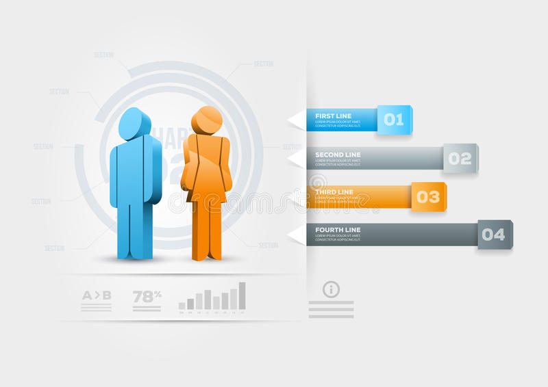 Infographic πρότυπο σχεδίου ανθρώπων διανυσματική απεικόνιση