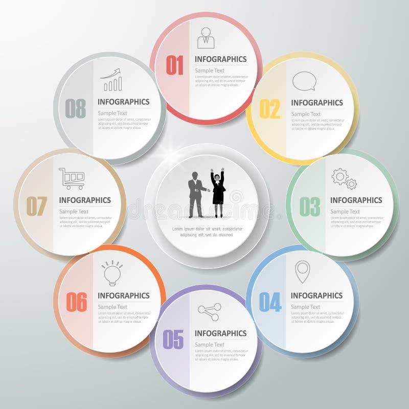 Infographic πρότυπο 8 σχεδίου βήματα για την επιχειρησιακή έννοια ελεύθερη απεικόνιση δικαιώματος