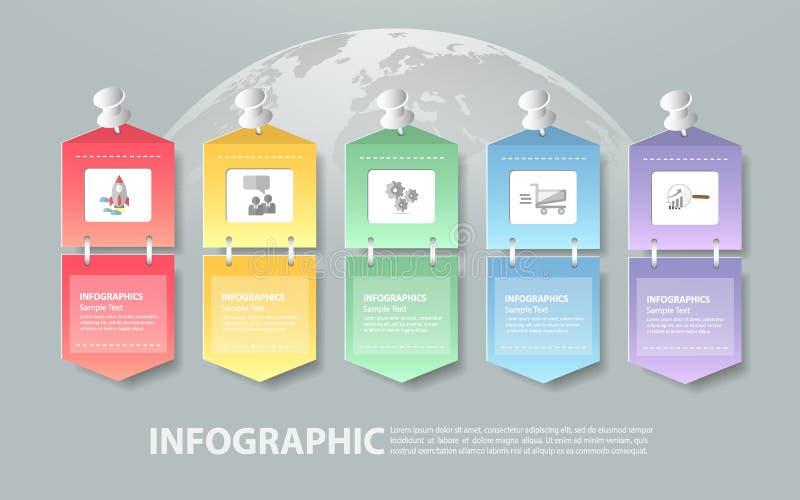 Infographic πρότυπο 5 σχεδίου βήματα για την επιχειρησιακή έννοια απεικόνιση αποθεμάτων