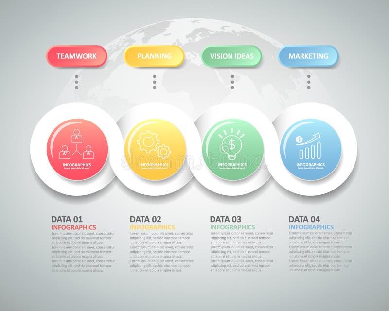 Infographic πρότυπο 4 σχεδίου βήματα για την επιχειρησιακή έννοια ελεύθερη απεικόνιση δικαιώματος