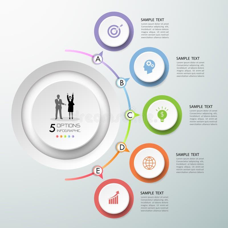 Infographic πρότυπο 5 σχεδίου επιλογές χρυσή ιδιοκτησία βασικών πλήκτρων επιχειρησιακής έννοιας που φθάνει στον ουρανό ελεύθερη απεικόνιση δικαιώματος