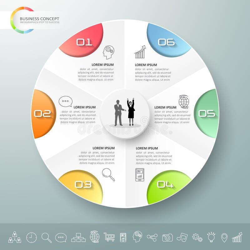 Infographic πρότυπο 6 σχεδίου επιλογές ελεύθερη απεικόνιση δικαιώματος