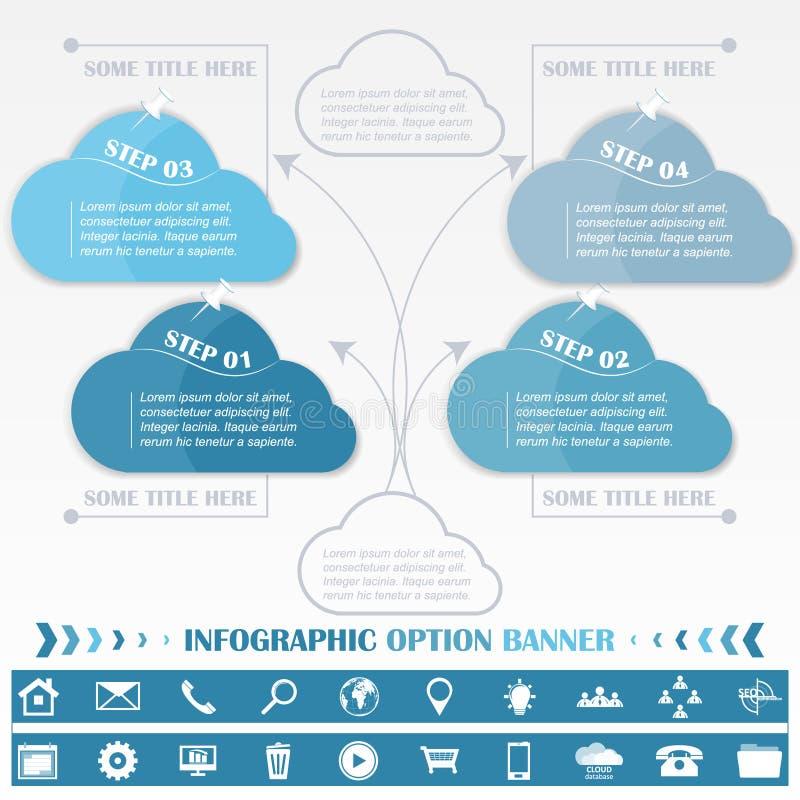 Infographic πρότυπο σχεδίου υπόδειξης ως προς το χρόνο με τις μπλε ετικέττες σύννεφων ελεύθερη απεικόνιση δικαιώματος